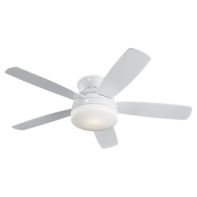 52 Greensboro 5 Blade Semi Flush LED Ceiling Fan Finish: White