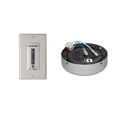 Hard-Wired Wall Remote Control, Receiver, Switch Plate and Receiver Hub Finish: Brushed Pewter