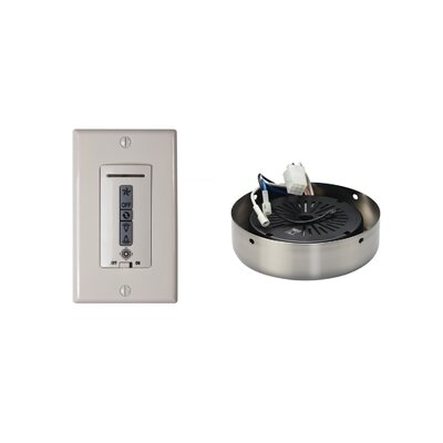 Hard-Wired Wall Remote Control, Receiver, Switch Plate and Receiver Hub Finish: Brushed Steel
