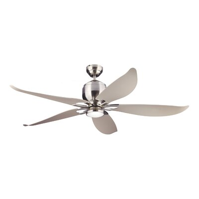 56 Lily LED Ceiling Fan with Remote Finish: Brushed Steel