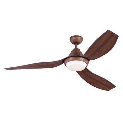 56 Zarate 3 Blade LED Ceiling Fan with Remote Finish: Koa with Koa Blade