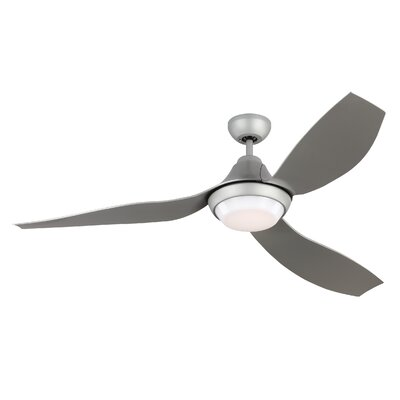 56 Zarate 3 Blade LED Ceiling Fan with Remote Finish: White with Gray Blade