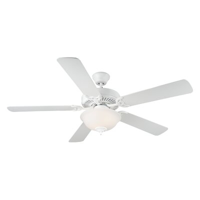52 HomeBuilder II 5 Blade Ceiling Fan Finish: White