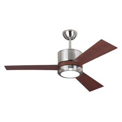42 Fort Hamilton 3 Blade LED Ceiling Fan with Remote Finish: Brushed Steel
