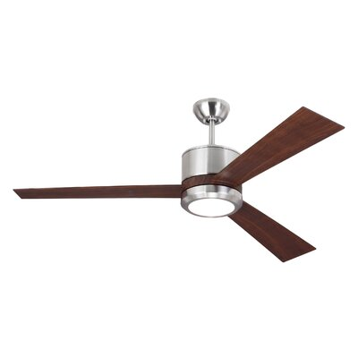 52 Fort Washington 3 Blade LED Ceiling Fan with Remote Finish: Brushed Steel