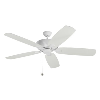 11.5 Garron 5 Blade Ceiling Fan with Remote Color: Matte White