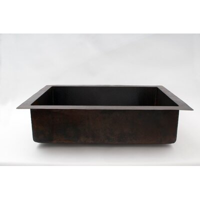 33 x 22 Plain Single Well Hammered Copper Drop-in Kitchen Sink