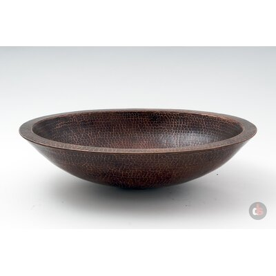 Double Wall Hammered Copper Oval Vessel Bathroom Sink