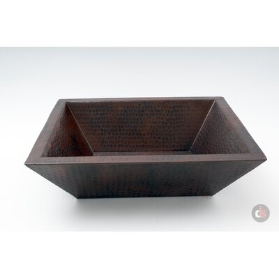 Double Wall Hammered Copper Metal Rectangular Vessel Bathroom Sink