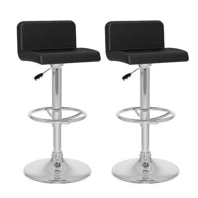 Corel Adjustable Height Swivel Bar Stool Upholstery: Black