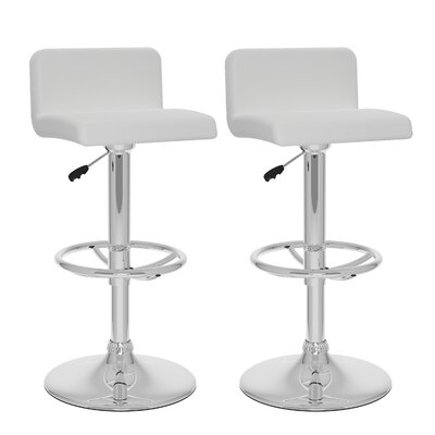 Corel Adjustable Height Swivel Bar Stool Upholstery: White