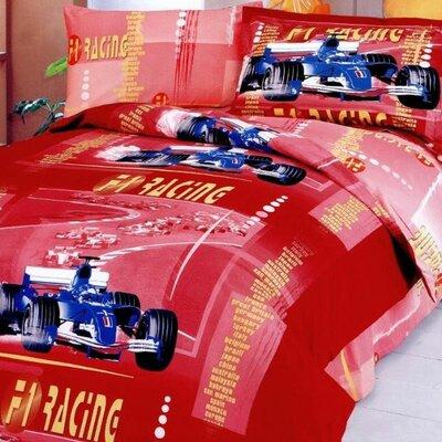 F1 4 Piece Junior Duvet Cover Set Color: Red