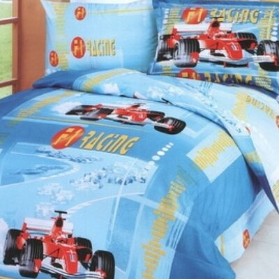 F1 4 Piece Junior Duvet Cover Set Color: Blue