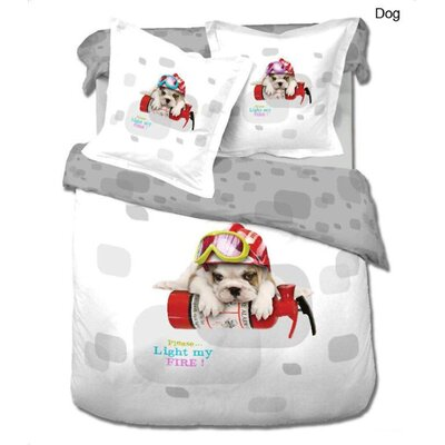 Dog 4 Piece Twin Duvet Cover Set