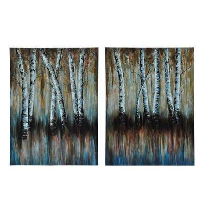 'Double Birch' 2 Piece Painting Print on Canvas Set CVTOP1937