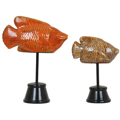 2 Piece Fish Statue Set