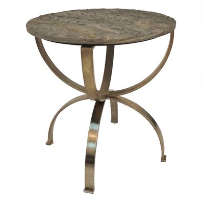 Alessandro Curved Aged Brass Round End Table