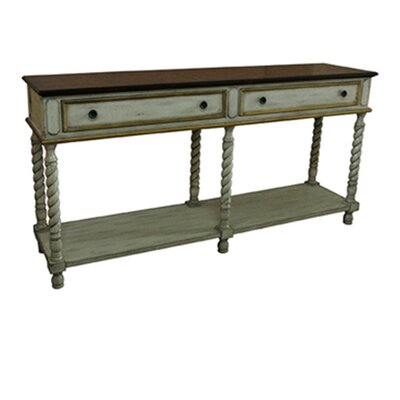 Pangle Textured Twist Wood Top Console Table