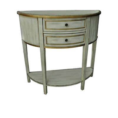 Pangle Textured 2 Drawer Demilune Console Table