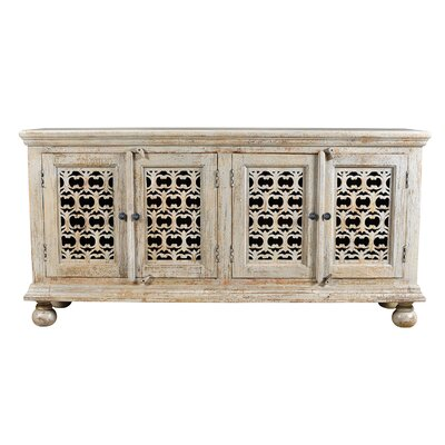 Alaska Mango Wood Aged 4 Door Carved Sideboard