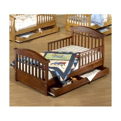 Joel Pine Toddler Bed with Storage Color: Cherry Pine