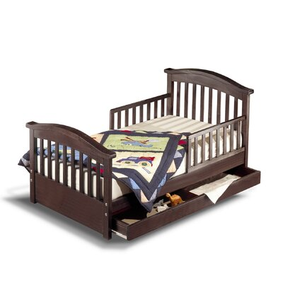 Joel Pine Toddler Bed with Storage Color: Espresso