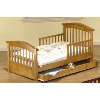 Joel Pine Toddler Bed with Storage Finish: Oak On Pine