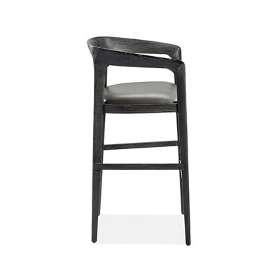Kendra Bar Stool Color: Charcoal Ceruse, Upholstery: Gray