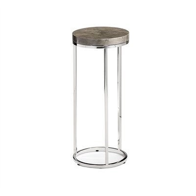 Elijah Round Drink End Table Table Base Color: Nickel, Table Top Color: Maple