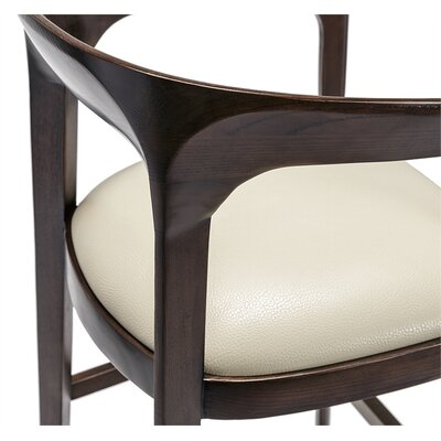 Kendra Bar Stool Color: Walnut, Upholstery: Beige