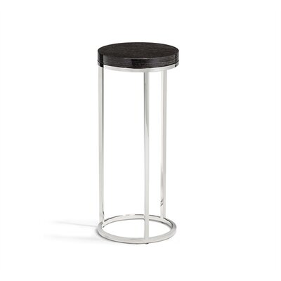 Elijah Round Drink End Table Table Base Color: Nickel, Table Top Color: Smoked Oak