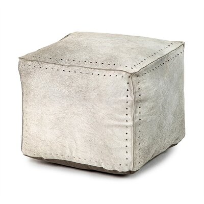 Bella Leather Cube Ottoman Upholstery: Gray, Nailhead Detail: Silver