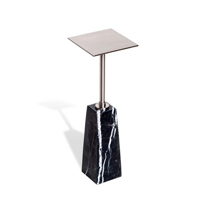 Beck Square Drink End Table Table Base Color: Black, Table Top Color: Nickel