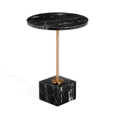 Rain Marble End Table Table Base Color: Brass, Table Top Color: Nero Storm