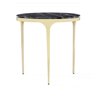 Camilla End Table Table Base Color: Brass, Table Top Color: Nero Storm