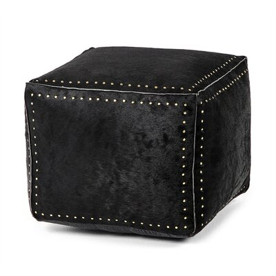 Bella Leather Cube Ottoman Upholstery: Black, Nailhead Detail: Brass