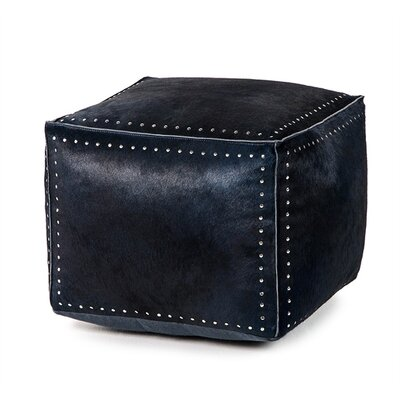 Bella Leather Cube Ottoman Upholstery: Denim, Nailhead Detail: Silver