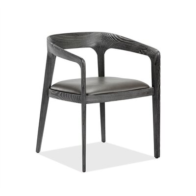 Kendra Upholstered Dining Chair Upholstery Color: Gray, Frame Color: Charcoal Ceruse
