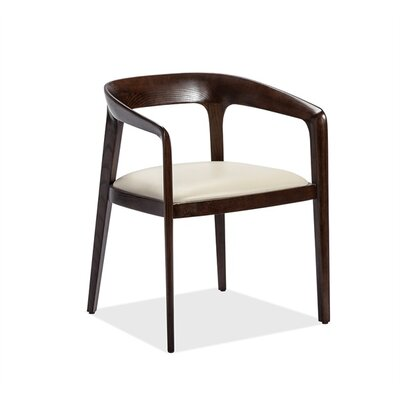 Kendra Upholstered Dining Chair Upholstery Color: Beige, Frame Color: Walnut