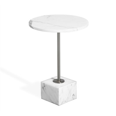 Rain Marble End Table Table Base Color: Nickel, Table Top Color: Arabescato