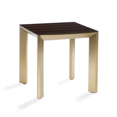 Milo End Table Table Base Color: Brass, Table Top Color: Eucalyptus