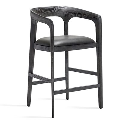 Kendra Counter Bar Stool Color: Charcoal Ceruse, Upholstery: Gray