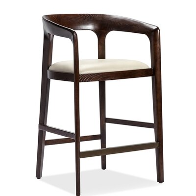 Kendra Counter Bar Stool Color: Walnut, Upholstery: Beige