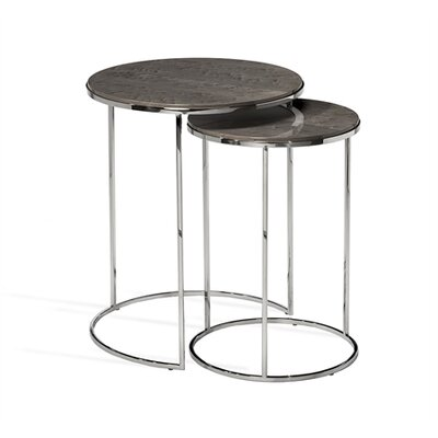Jax Round 2 Piece Nesting Tables Table Top Color: Maple