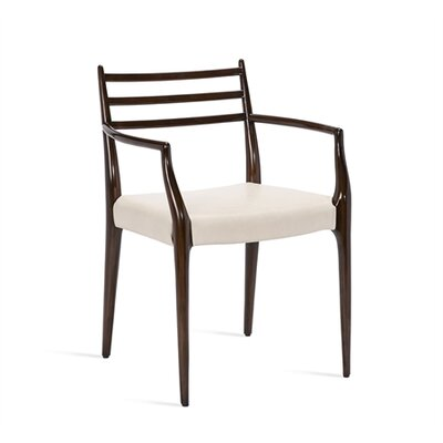Beckham Armchair Upholstery: Cream, Finish: Walnut