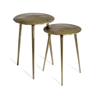 Lucia 2 Piece Nesting Tables Color: Brass