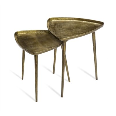 Lucia Triangular 2 Piece Nesting Tables Color: Brass