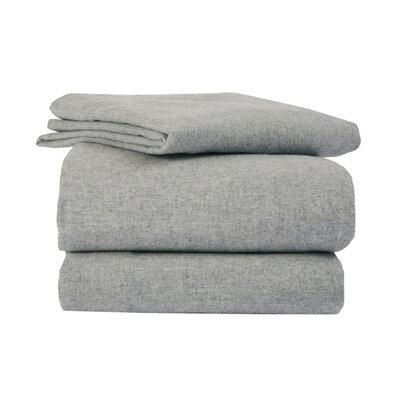 Heather Flannel Sheet Set Size: King, Color: Gray