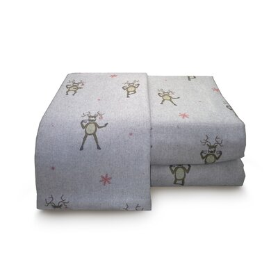 Heather Drunken Reindeer Flannel Sheet Set Size: Queen