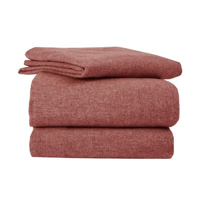 Heather Flannel Sheet Set Size: Twin, Color: Brandy